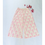 Two Feet White-Pink Flower Burst Elasticated-Waist Cotton Palazzo